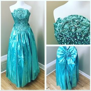 Vintage 80's 90's Teal Blue Iridescent Prom Dress